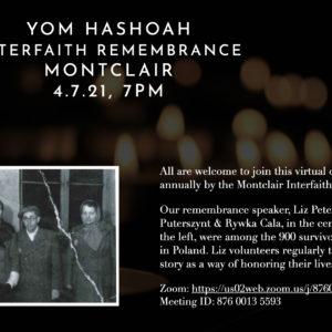 Yom Hashoah Interfaith Remembrance, Montclair